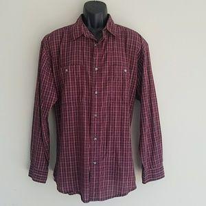 Wrangler Rugged Wear Red Long Sleeve Shirt Size XL